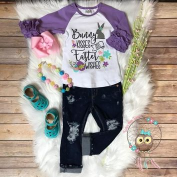"RTS- ""Bunny Kisses and Easter Wishes"" Ruffle Raglan! D-46 SUPER SALE!! NOW $7.95 Reg $12.95"