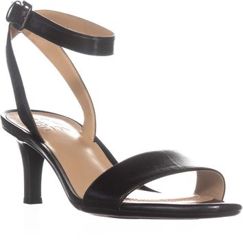 naturalizer Tinda Ankle Strap Sandals, Black Leather, 9.5 W US