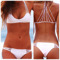 New Women's CUTOUT TRIANGLE TOP&Strappy String Bikini Bottom Swimwear Swimsuit