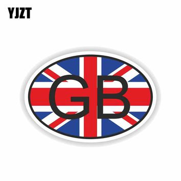 YJZT 13.7CM*9.3CM Creative GB GREAT BRITAIN COUNTRY CODE Car Sticker Reflective PVC Decal 6-0191