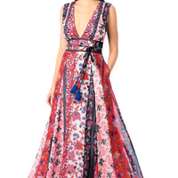 Plunge floral print sequin georgette maxi dress