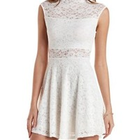 White Scalloped Lace Boat Neck Skater Dress by Charlotte Russe