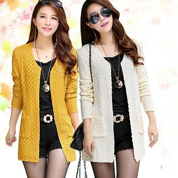 Women Sweater Long Cardigan 2015 Fashion Summer Style Long Sleeve Thin Knitted Cardigan  female Sweaters  Free Shipping