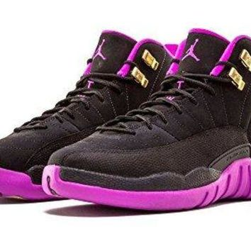 NIKE AIR JORDAN 12 Retro Girl's GG Black/Metallic Gold Star-Hyper Violet Suede