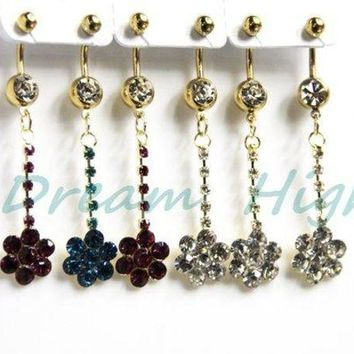 ac ICIKO2Q Newest style Long Dangle Belly Button Rings Flower Golden Navel Piercing 316L Surgical steel 240pcs/lot Free Shipping