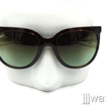 New Ray Ban Cats 1000 Women Tortoise Green Gradient Sunglasses RB4126 710/A6 57