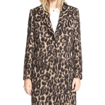 Women's Burberry Brit 'Croasdale' Leopard Print Wool & Alpaca Reefer Coat,