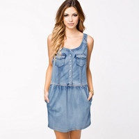 Blue Denim Button Pocket Sleeveless Mini Dress