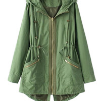 Olive Drawstring Hooded Coat