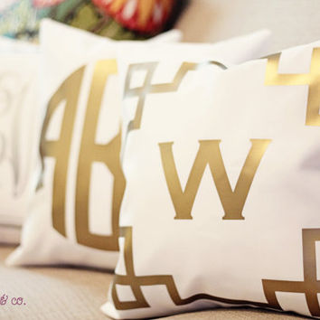 METALLIC monogrammed pillow cover - 14x14 - gold or silver - select monogram and border