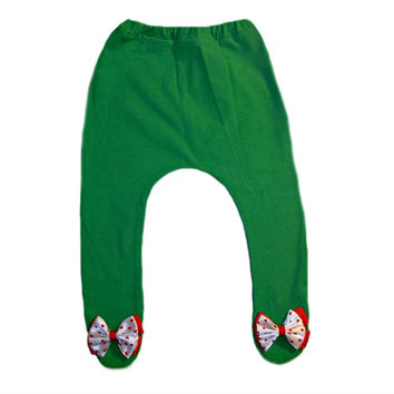 Baby Girl Green Christmas Tights with Bow with Hearts