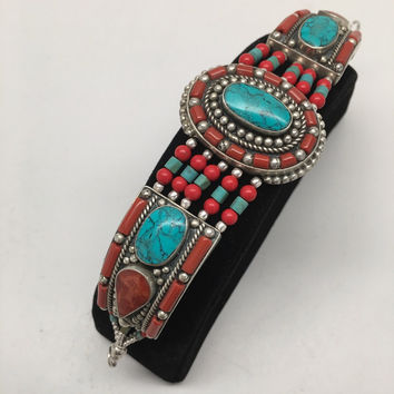 Vintage Nepalese Red Coral & Green turquoise Inlay Statement Bib Bracelet, NPB14