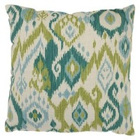 Gunnison Toss Pillow Collection - Green/Blue Ikat
