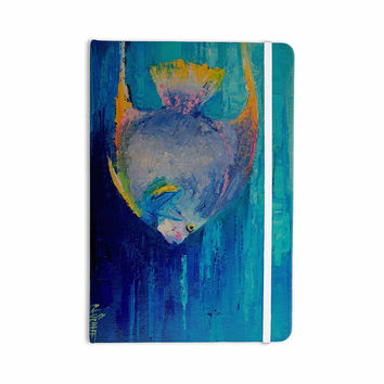 "Carol Schiff ""Tropical Fish II"" Blue Pink Painting Everything Notebook"