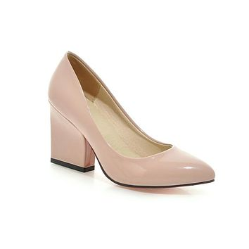 Block High Heel Pointed Toe Patent Leather Pumps