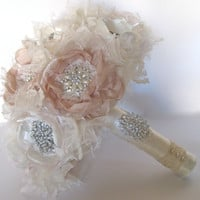 "Romantic Fabric Flower 12"" Brooch Bouquet Ivory and Champagne with Pearls Rhinestones and Lace Wedding Bouquet Bridal Custom Made"