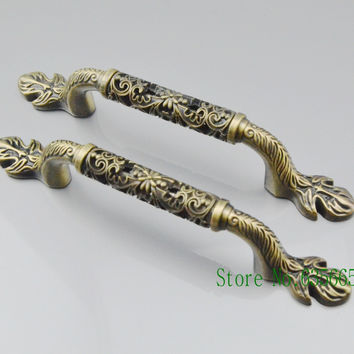 2pcs 128MM Bronze Antique Art Furniture Hardware Handles Door Drawer Wardrobe Kitchen Cabinets Cupboard Pull Knobs Accessories