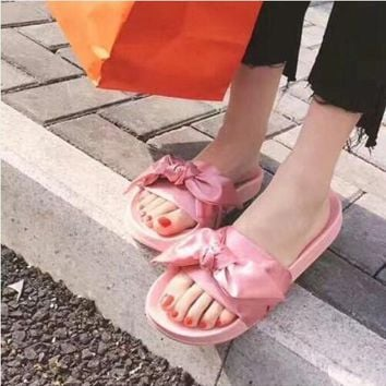 Puma Rihanna Fenty Trending Women Silk Bow Pure Color Sandals Slippers Shoes Pink I