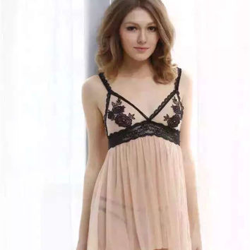 On Sale Cute Hot Deal Embroidery Soft Lace Transparent Sexy Sleepwear Ladies Dress Exotic Lingerie [6595948163]