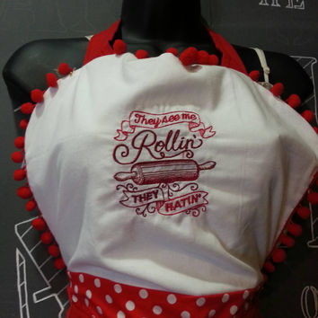 "Kitchen Sass Collection:  ""They See me Rollin, They Hatin""/""Bakers Gonna Bake"" Reversible Embroidered Apron with Cherry Red Polka Dot"