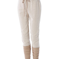 LE3NO Womens Lightweight French Terry Jogger Pants with Ruched Hem