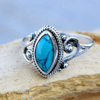 Native american Turquoise ring, silver ring, silver Turquoise ring, 92.5 sterling silver, Natural Turquoise Silver Ring,  RNSLTR4