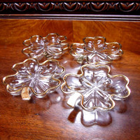 Vintage Jeannette 22kt Trim Glass Four Leaf Clover Dishes