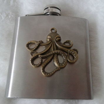 Steampunk bronze octopus stainless steel hip flask - 6 oz