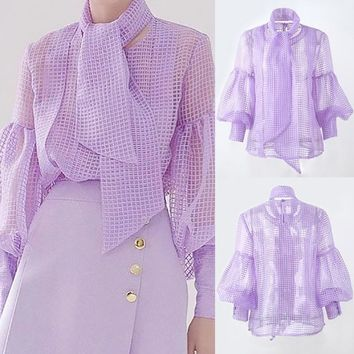 2018 New Fashion Sexy Women See Through Mesh Plaid Blouse O Neck Bowknot Sashes Puff Long Sleeve Elegant Top Shirt Korean Style