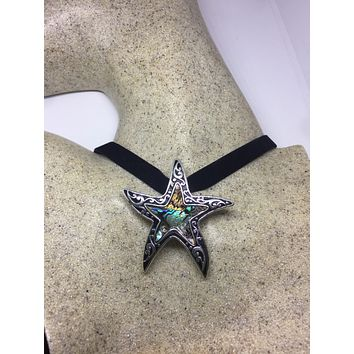 Blue Handmade Gothic Styled Silver Finished Genuine Abalone Star Fish Choker Necklace