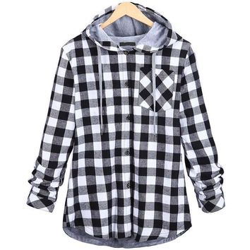 Women Plus Size Plaid Shirts Button Down Hoodies Hooded Sweatshirt