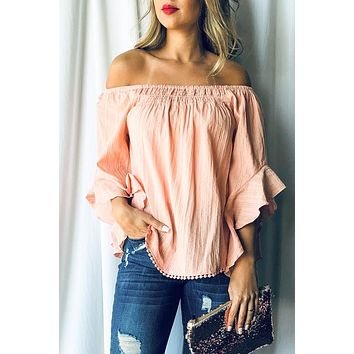 Off Shoulder Top with Pom Pom Detail - Peach - Ships Wednesday