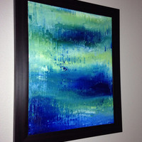 Ocean Art Abstract Blue Abstract Painting, Abstract Ocean Art - Sapphire Blue, Turquiose, Soft Green - 16x20 Stretched Canvas