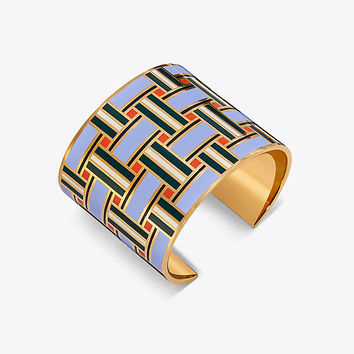 Tory Burch Geo Enameled Statement Cuff