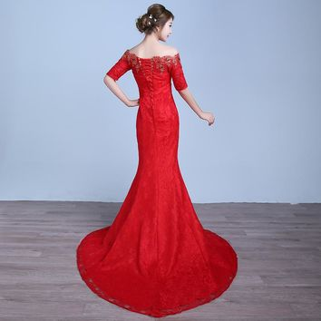 Autumn With Train Boat Neck Mermaid Wedding Dress Vintage Bride Gown Dresses robe
