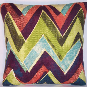 "Lime Purple Teal Chevron Zig-zag Throw Pillow Robert Allen Color Field Leaf 17"" Square  Ready Ship Insert Included"