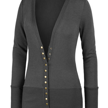 LE3NO Womens Deep V Neck Long Sleeve Snap Button Slim Fit Knit Cardigan with Stretch (CLEARANCE)