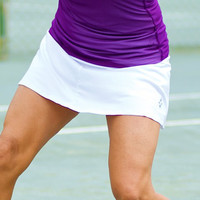 JoFit Ladies & Plus Size Jacquard Swing Tennis Skorts - Cosmopolitan (White)
