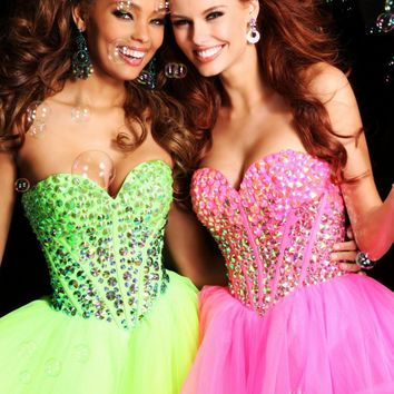 Strapless Short Dress by Sherri Hill