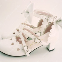 White Sandals Hollow Summer PU Sweet Lolita Shoes