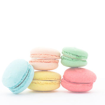 Kitchen Wall Decor, Still Life Photo, French Macaron, Pastel Colors, Modern Home Decor, pink, blue, yellow, green, peach