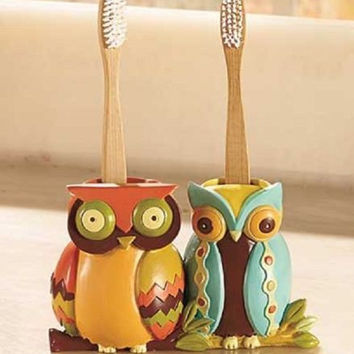 Owl Bathroom Set Collection Accessories Toothbrush Holder Orange Yellow Brown