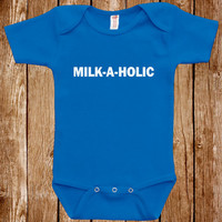 Funny Baby Infant Bodysuit Clothes One Piece Romper Joke Boy Girl Milk-A-Holic Fun Geek Adorable Cute Shower Gift