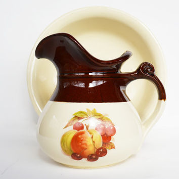 McCoy Pottery Pitcher and Wash Basin, Vintage Brown and Tan Harvest Fruit Design, English Ewers,  Wash Stand