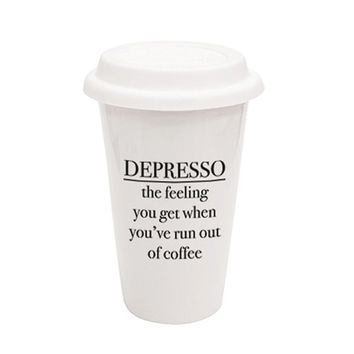 Depresso The Feeling You Get When You've Run Out Of Coffee Traveler Mug - A Cup Of Quotes