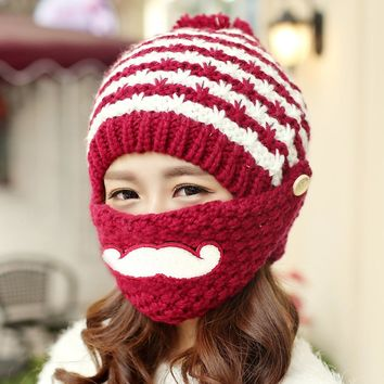 Mustache Mask Knitted Winter Hats for Women Outdoor Skiing Skullies & Beanies Acrylic Keep Ear Warm Caps with Balls Hat