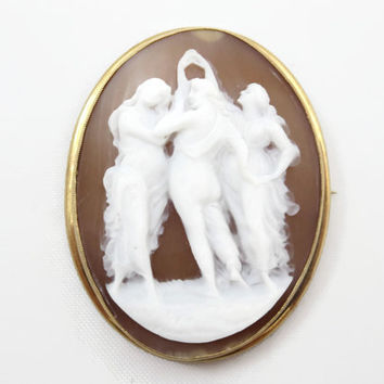 Three Graces Cameo Necklace Pendant or Brooch - 10k Gold, Antique Victorian Estate Jewelry, Finely Carved Shell