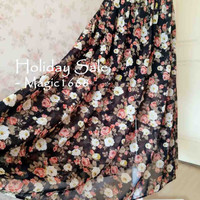 2015 Flower Printing Maxi Skirt - Chiffon Floral Skirt - Summer Skirt - Beach Skirt - Custom size Skirt -Chiffon Skirt -Ladies Skirt