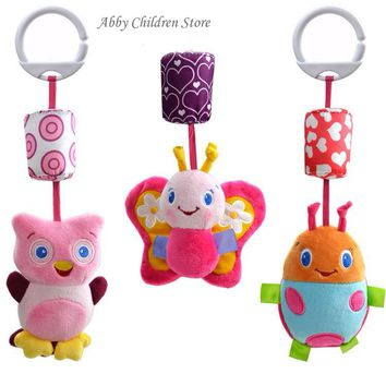 Abbyfrank Baby Crib Stroller Toy 0-12 months Plush Owl Butterfly Ladybug Musical Infant Newborn Hanging Baby Rattle Soft Playpen