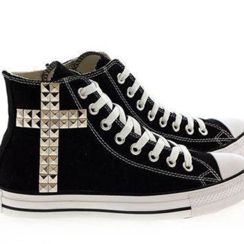 CREYUG7 Studded Converse Silver Cross pattern studs with converse Black high top by CUSTOMDUO
